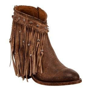 Lucchese Tan Farrah Beaded Fringe Bootie Round Toe